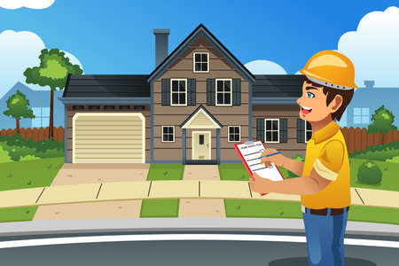 Foto de A vector illustration of home inspector in front of a house - Imagen libre de derechos