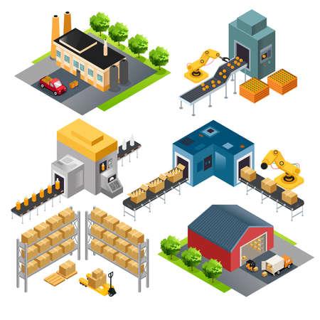 Illustration pour A vector illustration of isometric industrial factory buildings - image libre de droit