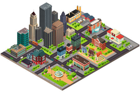 Illustration pour A vector illustration of Isometric Design of City Streets and Buildings - image libre de droit