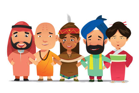 Illustration pour A vector illustration of Multi Ethnic People Linking Arms Together - image libre de droit