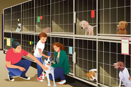 Ilustración de A vector illustration of Family Adopting a Dog from Animal Shelter - Imagen libre de derechos