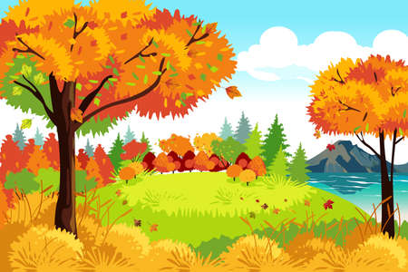 Ilustración de A vector illustration of Beautiful Autumn or Fall Season Nature Landscape Background - Imagen libre de derechos
