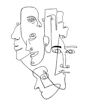 Ilustración de Modern poster with linear abstract faces. Continuous line art. One line drawing. Minimalist graphic. - Imagen libre de derechos