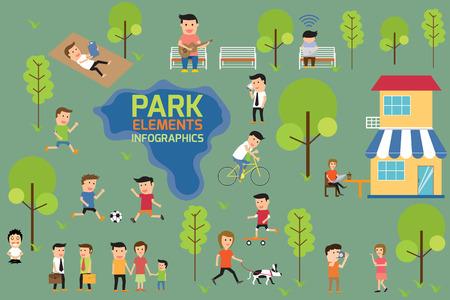 Illustration pour Park infographics elements, people having activities in the park, vector illustration. - image libre de droit