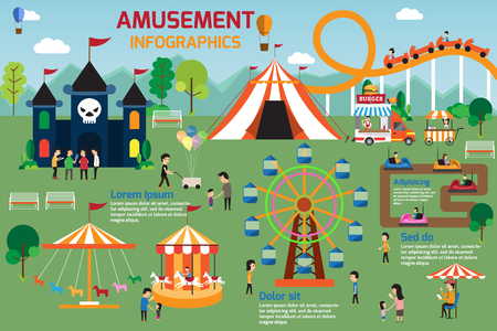 Illustration pour Amusement park infographic elements flat vector design. People spend time relaxing in nature with parents and children are walking in the park. vector illustration. - image libre de droit