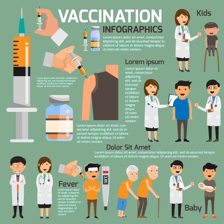 Ilustración de Vaccination concept infographics. health and medical vector illustration. - Imagen libre de derechos
