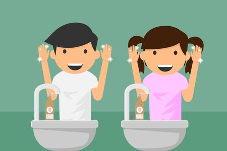 Ilustración de Kids hands washing. vector illustration. - Imagen libre de derechos