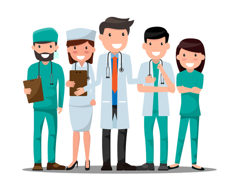 Illustration pour Medical doctors and nurses  in various pose for advertising. - image libre de droit