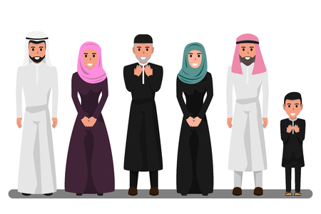 Illustration pour Arab family characters in various pose. Happy saudi, emirates muslim senior man, woman, parents, father, People in national clothing and hijab. Character of muslim religion concept vector illustration. - image libre de droit