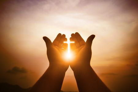 Foto per Christian man with open hands worship christian. Eucharist Therapy Bless God Helping Repent Catholic Easter Lent Mind Pray. Christian concept background. - Immagine Royalty Free