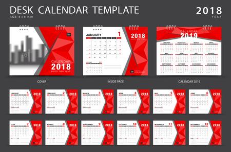 Illustration for Desk calendar 2018 template. Set of 12 Months. Planner. Week starts on Sunday. Stationery design. advertisement. Vector layout. - Royalty Free Image