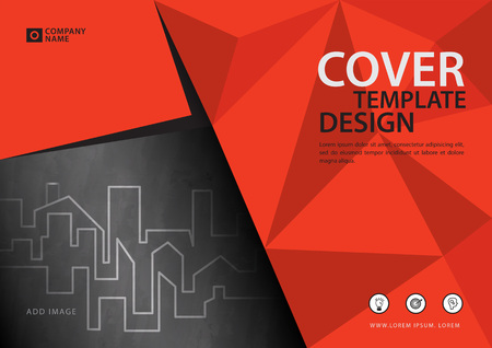 Ilustración de Orange cover template for business industry, Real Estate. vector illustration - Imagen libre de derechos
