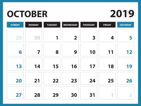 Illustration pour Desk calendar for SEPTEMBER 2019 template, Printable calendar, Planner design template,  Week starts on Sunday, Stationery design, vector illustration - image libre de droit
