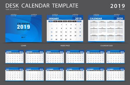 Illustration pour Calendar 2019, Desk calendar template, Set of 12 Months, Planner,  Week starts on Sunday, Stationery design, advertisement, Vector layout, blue cover design, business brochure flyer - image libre de droit