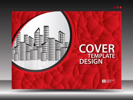 Ilustración de Red cover template for advertising, industry, Real Estate, home, Billboard, presentation, brochure flyer, annual report cover, book, advertisement, printing layout, polygonal background, vector, a4 - Imagen libre de derechos
