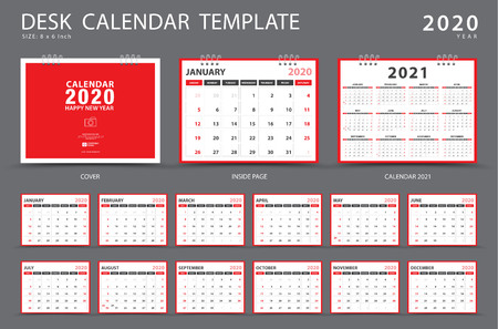 Illustration pour Calendar 2020, Desk calendar template, Set of 12 Months, Planner, Week starts on Sunday, Stationery design, advertisement, Vector layout, red cover design, business brochure flyer - image libre de droit