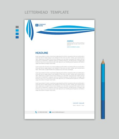 Illustration pour Letterhead template vector, minimalist style, printing design, business advertisement layout, Blue concept background - image libre de droit