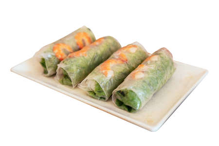 Foto de Isolated Vietnamese Fresh Spring Rolls including lettuce and boiled shrimp at the restaurant in Hanoi, Vietnam. - Imagen libre de derechos