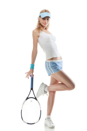 Portrait of young smiling woman with tennis racket isolated on white