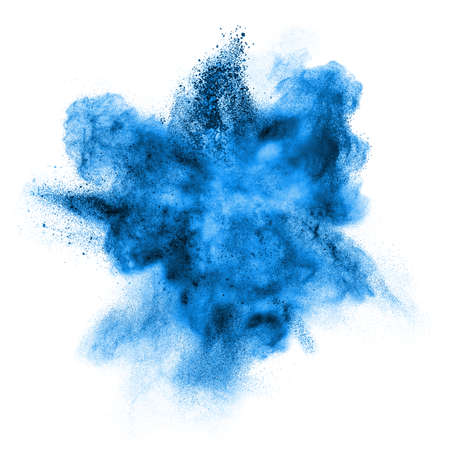 Foto de blue powder explosion isolated on white background - Imagen libre de derechos
