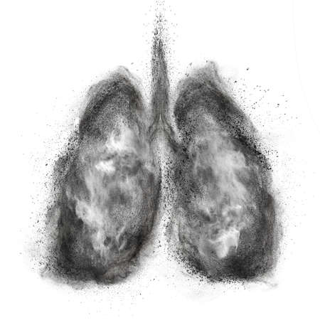 Photo for Lungs made of black powder explosion isolated on white background - Royalty Free Image