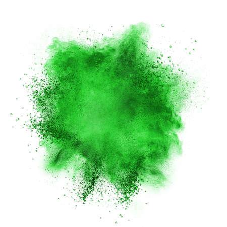 Foto de Green powder explosion isolated on white background - Imagen libre de derechos