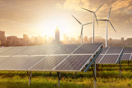 Photo pour solar panels under blue sky - image libre de droit
