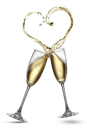 Photo for Champagne splash in shape of heart isolated on white - Royalty Free Image