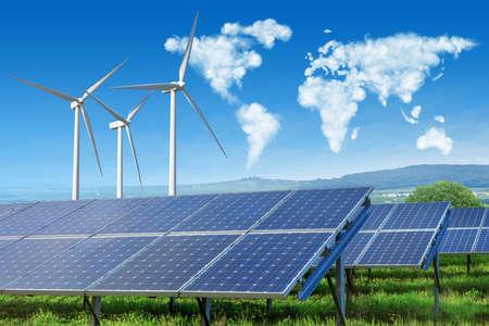 Foto de solar panels and wind turbines with world map - Imagen libre de derechos