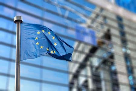 Photo for European Union flag against European Parliament - Royalty Free Image