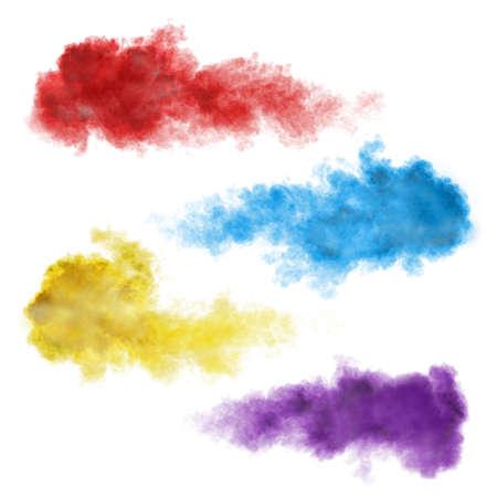 Foto de Set of color smoke explosions isolated on white background - Imagen libre de derechos