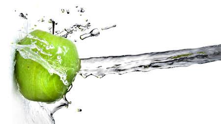 Foto de fresh water splash on green apple isolated on white. Header for website - Imagen libre de derechos
