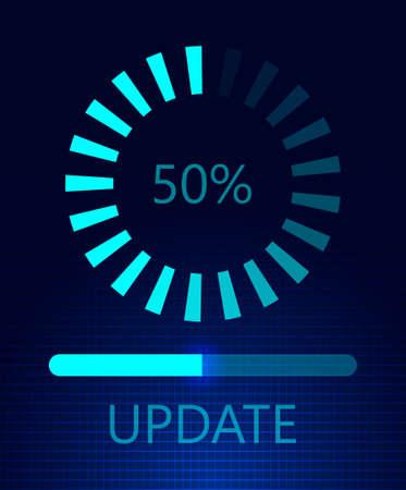 Foto de Software update on cyberspace. Loading process concept. Upgrade application progress icons. Flat on dark blue background for web, landing page, apps. - Imagen libre de derechos