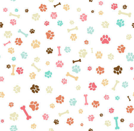 Ilustración de Dog paw print seamless. Template for your design, wrapping paper, card, poster, banner, flyer. Vector illustration. Isolated on white background - Imagen libre de derechos