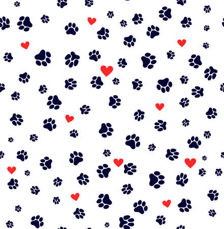 Ilustración de Seamless pattern dog paw and cat paw heart love puppy foot print kitten valentines day. Template for your design. Vector illustration. Isolated on white background - Imagen libre de derechos