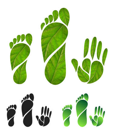 Ilustración de Set of green carbon foot print concept. Silhouette of feet and hands of leaves. Vector illustration. Isolated on white background - Imagen libre de derechos
