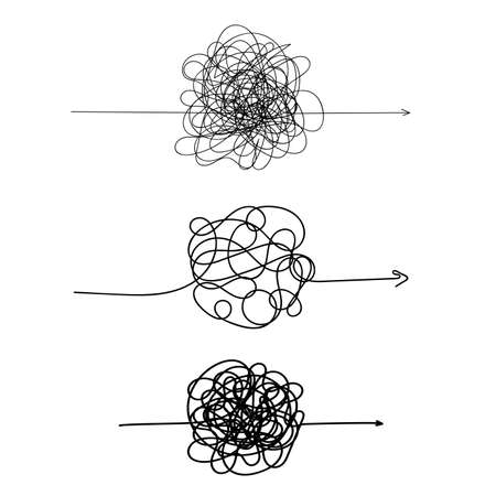 Ilustración de Set of symbol of complicated way with scribbled round element, chaos sign, pass the way linear arrow with clew or tangle ball in center. Vector illustration. Isolated on white background - Imagen libre de derechos