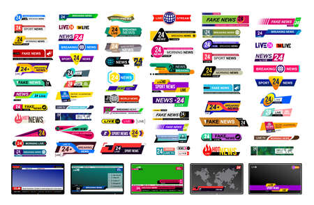 Ilustración de Set of TV news bars. Design News sign, streaming video. Breaking, fake, sport news. Interface sign. Mockup templates ready for your design. Vector illustration. Isolated on a gray background - Imagen libre de derechos