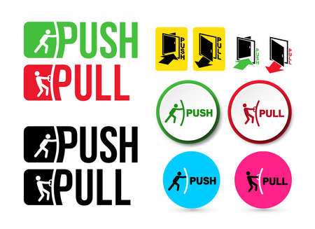 Illustration pour Set of Pull or Push door signs. Handle to open doors. Vector illustration. Isolated on white background - image libre de droit