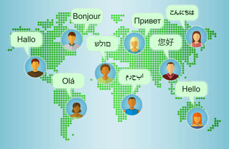 Illustration pour Set of People Icons on Earth Map Background with Speech Bubbles with greetings in many languages. Communication and People Connection Concept. Flat Design. Vector Illustration - image libre de droit