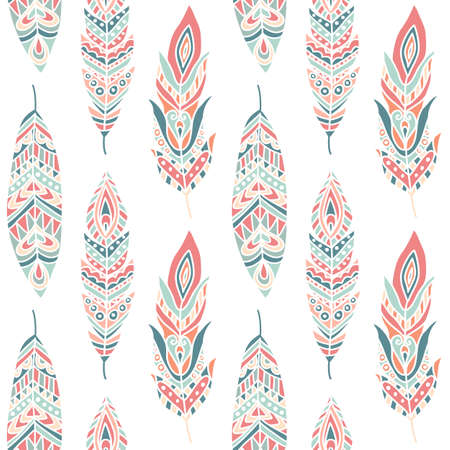 Illustration for Seamless Pattern with Ethnic Feathers, hand drawn vector illustration, can be used for wallpaper, web page background, greeting cards, fabric print - Royalty Free Image