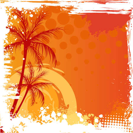 Palm trees on orange sunset background with grunge corners