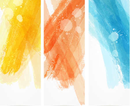 Photo pour Banner vertical templates with watercolor imitation lines - image libre de droit