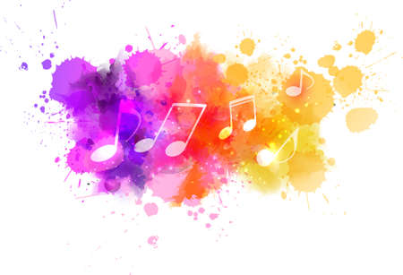 Illustration pour Music notes on colorful abstract watercolored background - image libre de droit