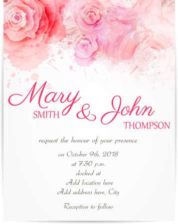 Ilustración de Wedding invitation template with abstract roses on watercolor background - Imagen libre de derechos