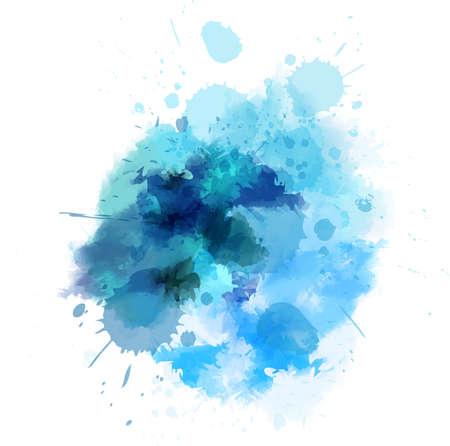 Ilustración de Watercolored splash blot in blue color - Imagen libre de derechos