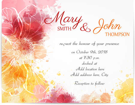 Illustration pour Wedding invitation template with abstract florals on watercolor background - image libre de droit