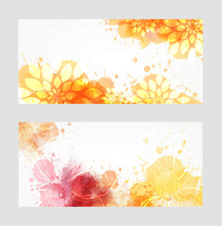 Illustration pour Two banners with abstract florals on watercolor splashes - image libre de droit