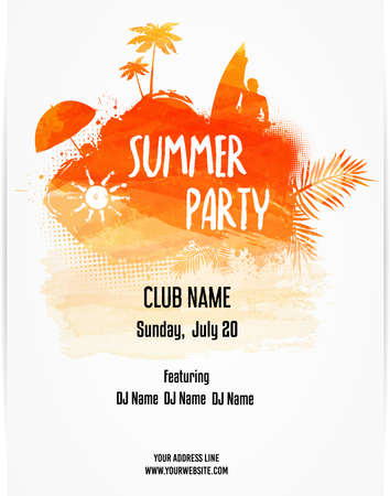 Illustration for Party poster template for summer party. Hello Summer calligraphic message. Orange colored with watercolor imitation design. Vector illustration. - Royalty Free Image