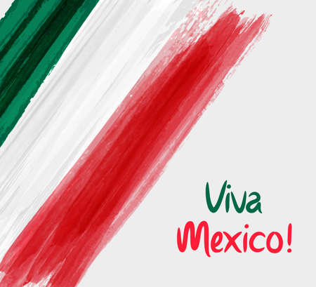 Illustration for Viva Mexico background with waterccolored grunge design. Independence day concept background. - Royalty Free Image